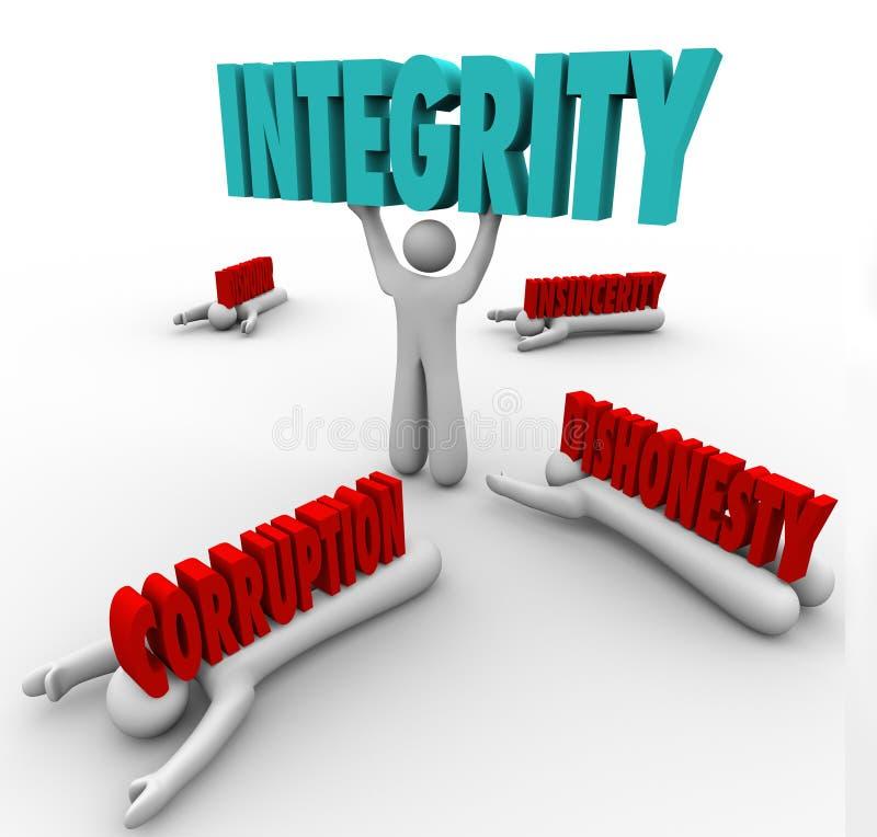 Líder de Person Lifting Word Competitive Advantage da integridade o melhor ilustração do vetor