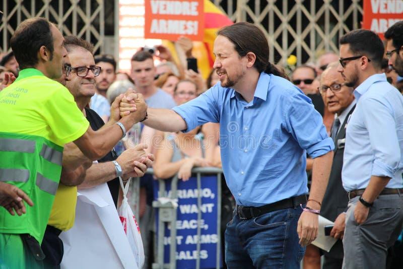 Líder de Podemos Pablo Iglesias na manifestação contra o terrorismo foto de stock royalty free