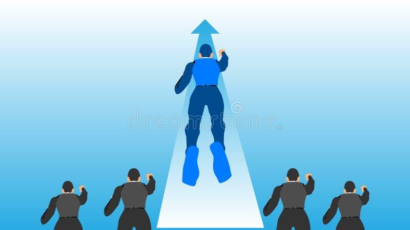Líder del ejemplo en el ambiente del trabajo El líder azul vuela para llevar los otros libre illustration