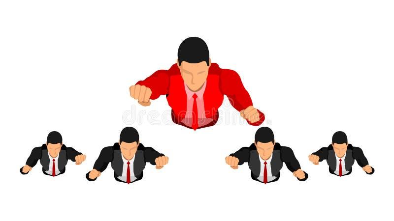 Líder del ejemplo en el ambiente del trabajo El líder rojo vuela para llevar los otros libre illustration