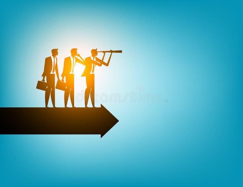 Líder del hombre de negocios que mira la dirección para el éxito Busine del concepto libre illustration