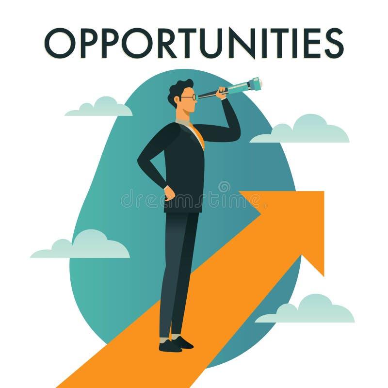 Líder del hombre de negocios que ve las oportunidades de alcanzar la meta stock de ilustración