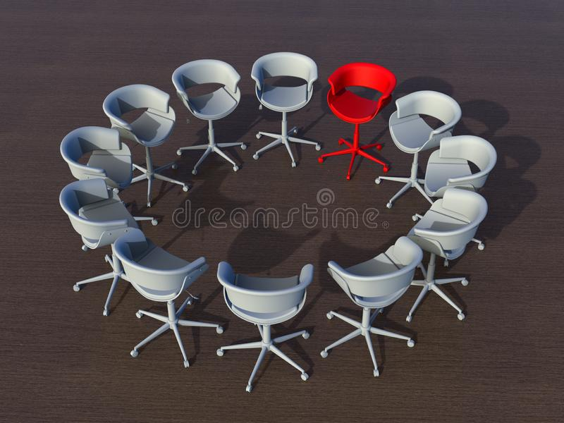 Líder dentro de um conceito do grupo 3D imagens de stock royalty free