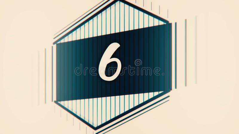 Líder do filme da contagem regressiva com numerais tirados Pare a animação pastel dos desenhos animados da contagem regressiva do ilustração do vetor