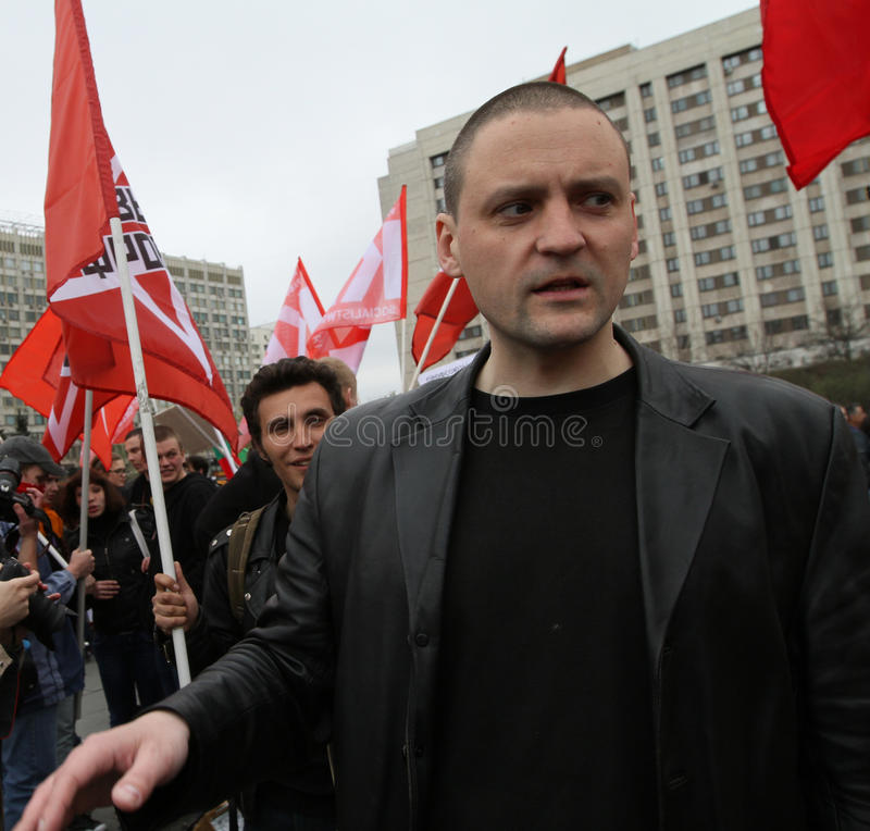 Líder do movimento dianteiro esquerdo Sergei Udaltsov na cidade do de esquerdas do pântano no centro imagem de stock