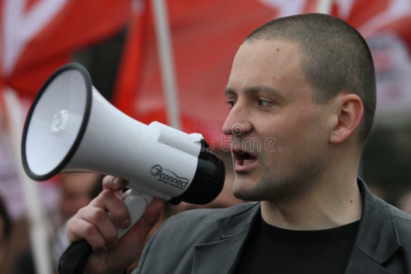 Líder do movimento dianteiro esquerdo Sergei Udaltsov na cidade do de esquerdas do pântano no centro Um dos líderes do movimento  imagens de stock