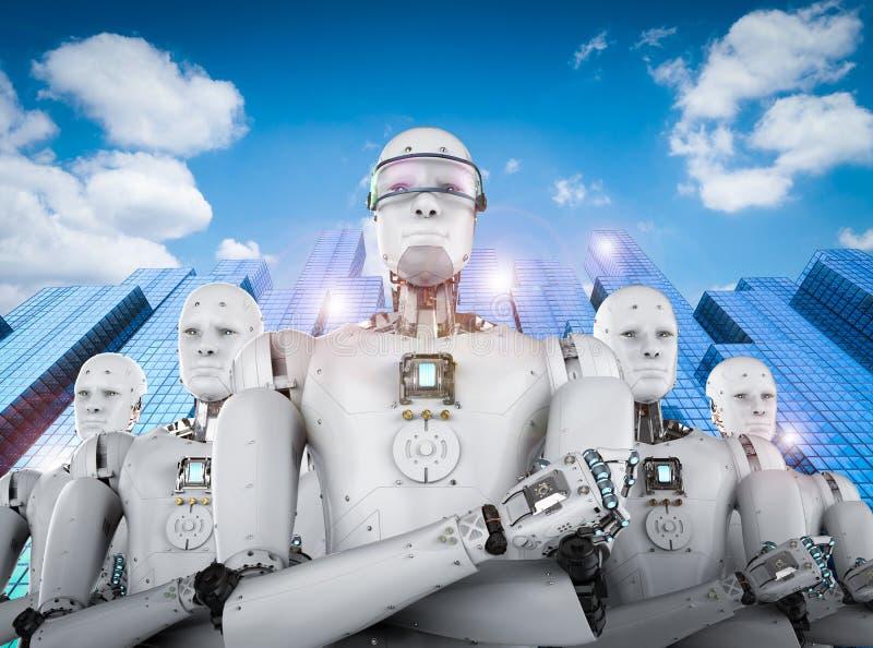Líder do robô com equipe fotos de stock