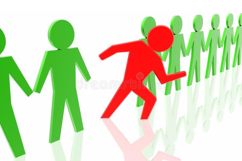Líder e equipe vermelhos do negócio ilustração royalty free