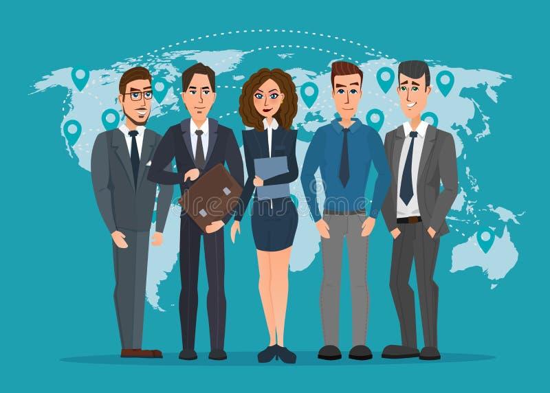 Líder e uma equipe Grupo de homens e de políticos das mulheres ilustração stock
