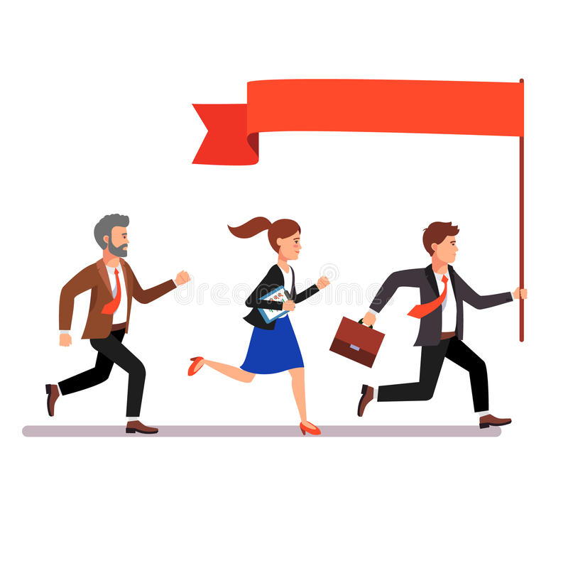 Líder empresarial que lleva la manera a sus colegas libre illustration