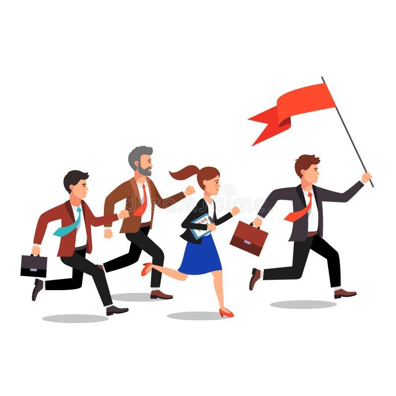 Líder empresarial que sostiene la bandera grande libre illustration
