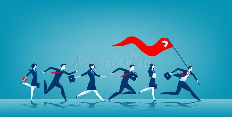 Líder empresarial que sostiene la bandera roja ilustración del vector