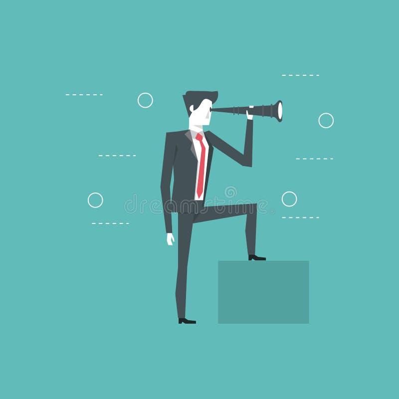 Líder empresarial y visionario stock de ilustración