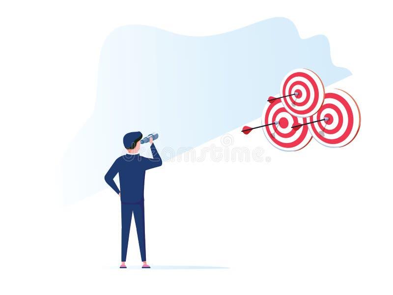 Líder empresarial y visionario Un gran líder de sexo masculino acertado que mira a través de un telescopio en blancos hacia éxito ilustración del vector