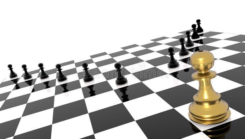 Líder excepcional del andvantage del empeño de oro competitivo del ajedrez - representación 3d libre illustration