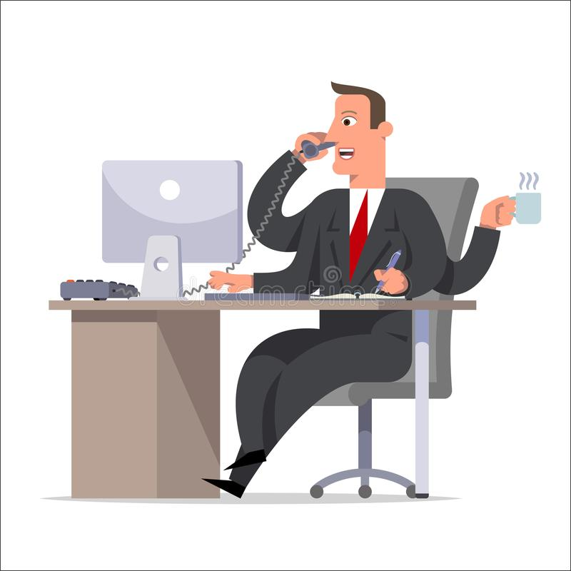 Líder, hombre de negocios o encargado competente eficaz con muchos Han libre illustration