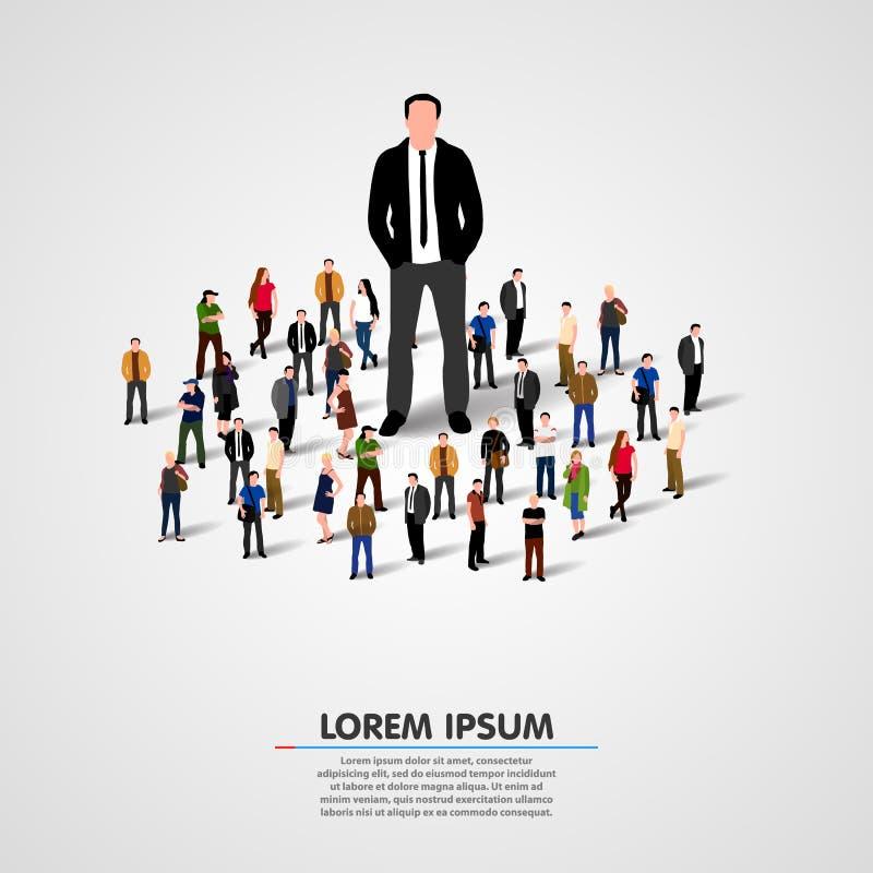 Líder real - hombre de negocios en muchedumbre ilustración del vector