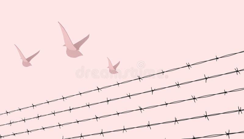 Líder rojo del pájaro y concepto de la libertad con la cerca del alambre de púas y ejemplos abstractos en fondo amarillo ilustración del vector