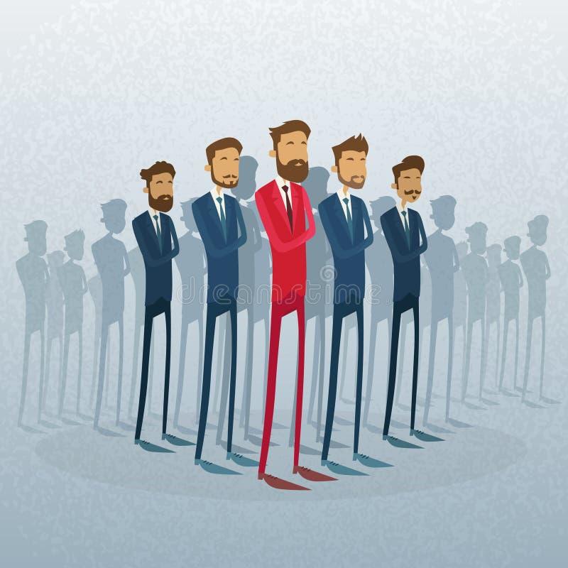 Líder rojo Stand Crowd Individual del hombre de negocios stock de ilustración