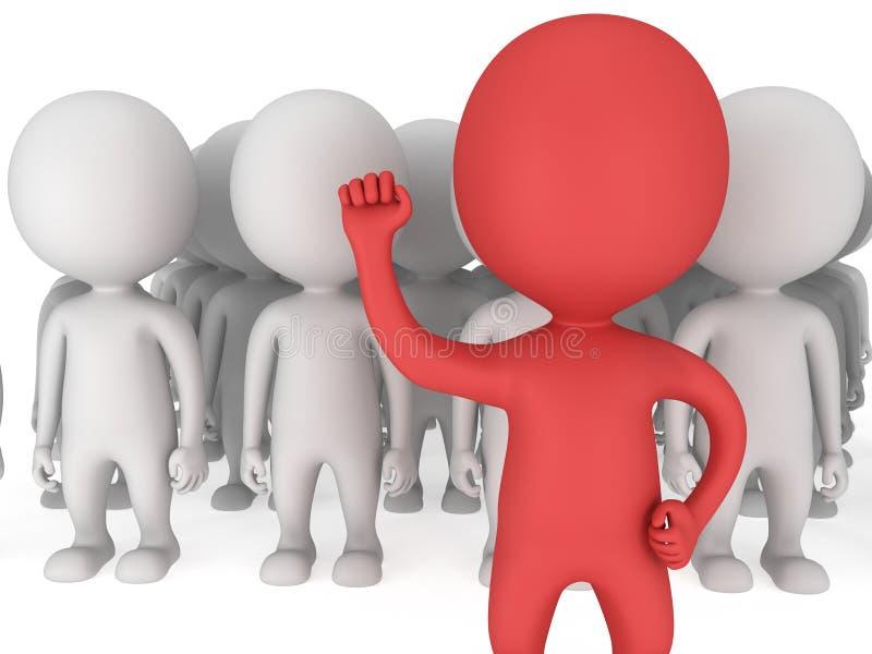 Líder vermelho corajoso antes de uma multidão ilustração royalty free