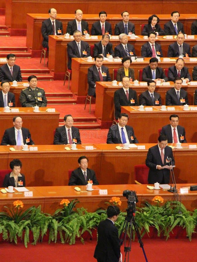 Líderes chinos superiores que assisten a la reunión del parlamento fotografía de archivo libre de regalías