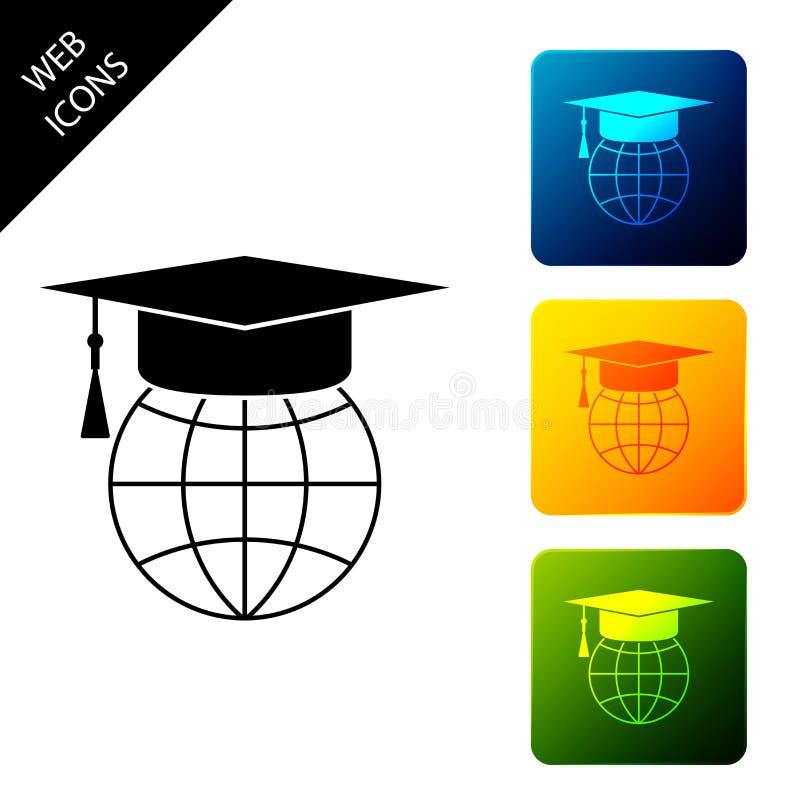 Límite de graduación en icono de globo aislado Símbolo de la educación mundial Concepto de aprendizaje en línea o e-learning Esta ilustración del vector