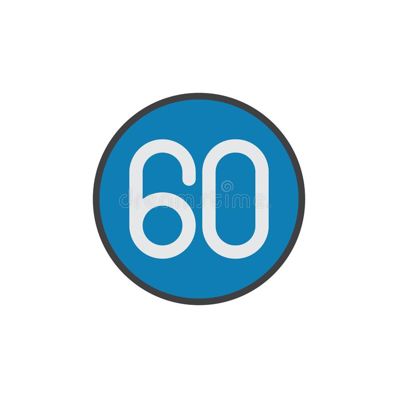 Límite de velocidad 60 kilómetros de icono plano ilustración del vector