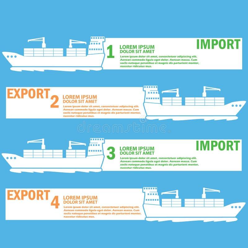 Límite marino blanco del buque de carga para las mercancías de la exportación y de la importación, stock de ilustración