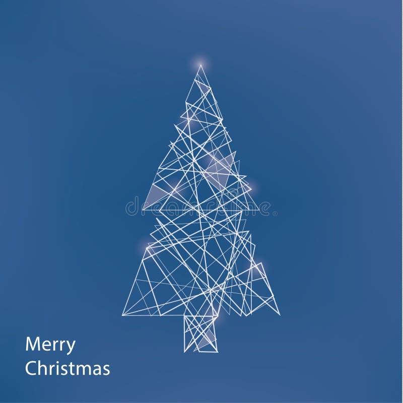 Línea árbol de navidad del vector Fondo fino de la Navidad con el lugar ilustración del vector