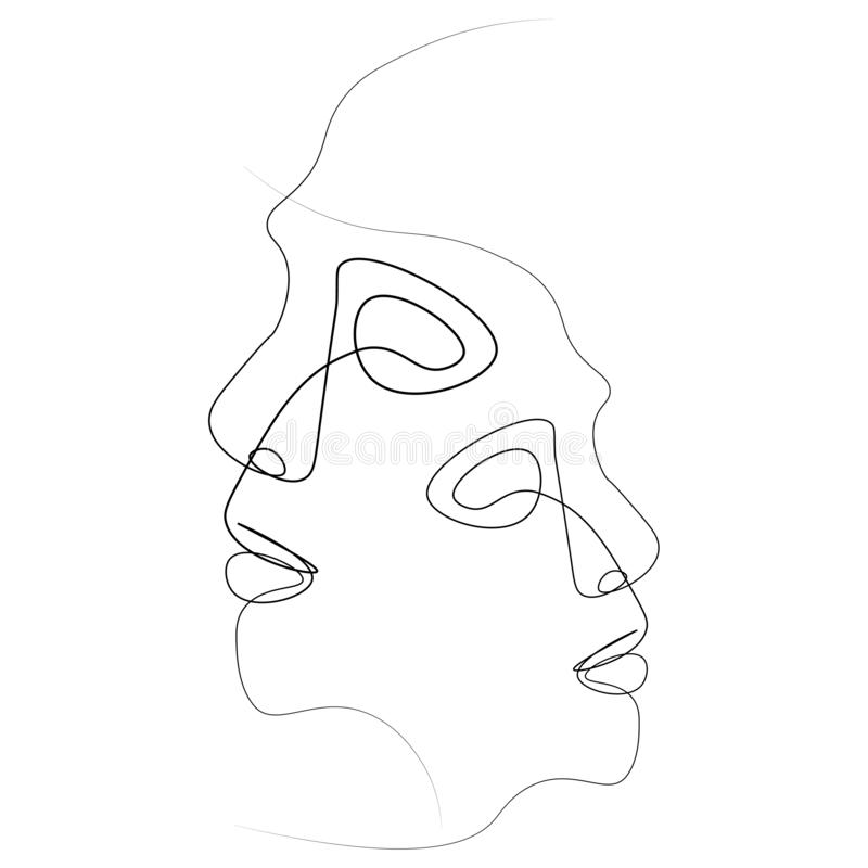 Línea abstracta de la cara una ilustración del vector