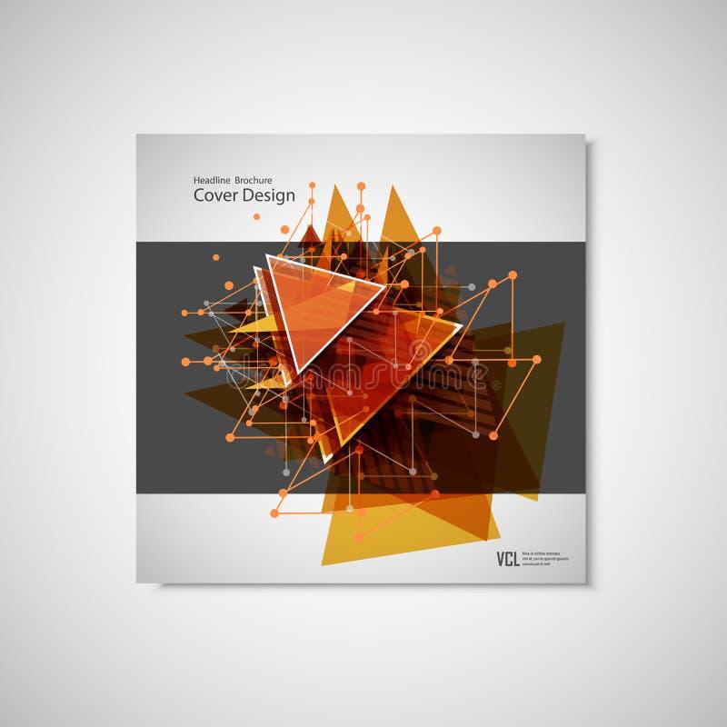 Línea abstracta del triángulo Plantilla del vector de la disposición de diseño del aviador del folleto del cartel de tamaño A4 stock de ilustración