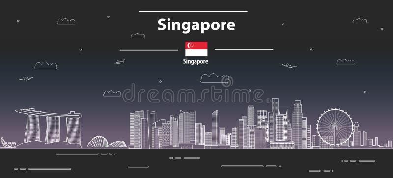 Línea abstracta ejemplo detallado del paisaje urbano de Singapur del vector del estilo del arte Fondo del recorrido ilustración del vector