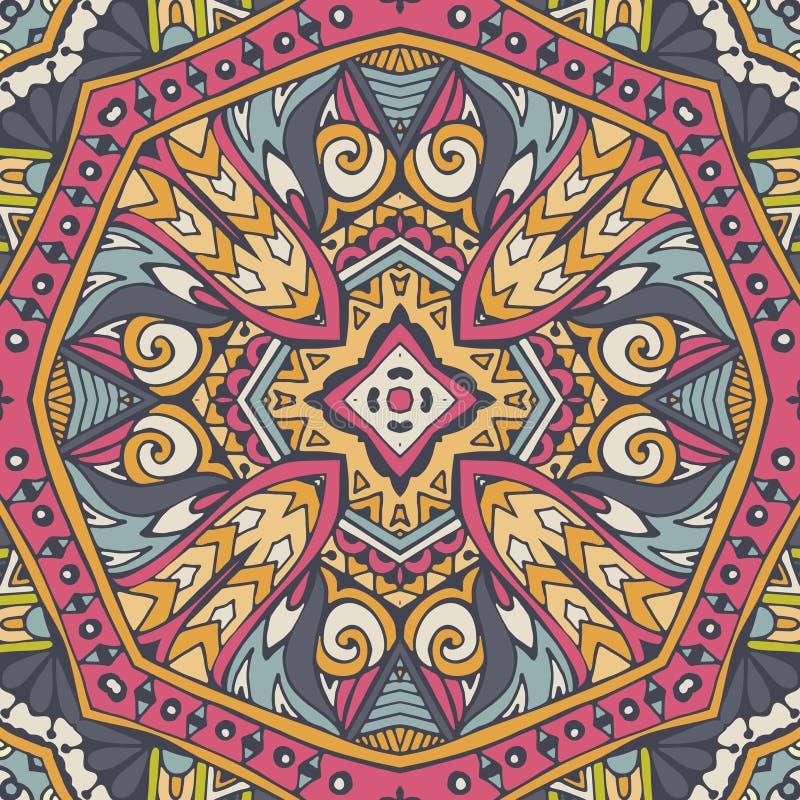 Línea abstracta geométrica azteca modelo inconsútil del arte stock de ilustración