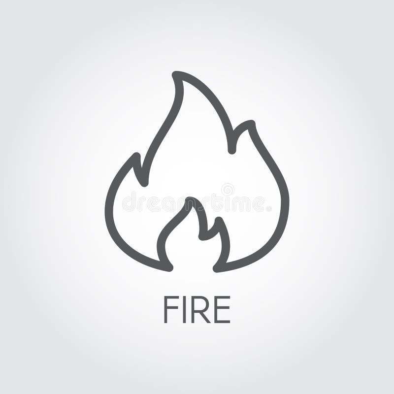 Línea abstracta icono de fuego Flamee el pictograma del esquema de la simplicidad del gas en fondo gris ejemplo del contorno del  ilustración del vector
