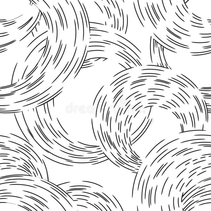 Línea abstracta modelo inconsútil de la ondulación del círculo Ornamento ondulado del remolino stock de ilustración