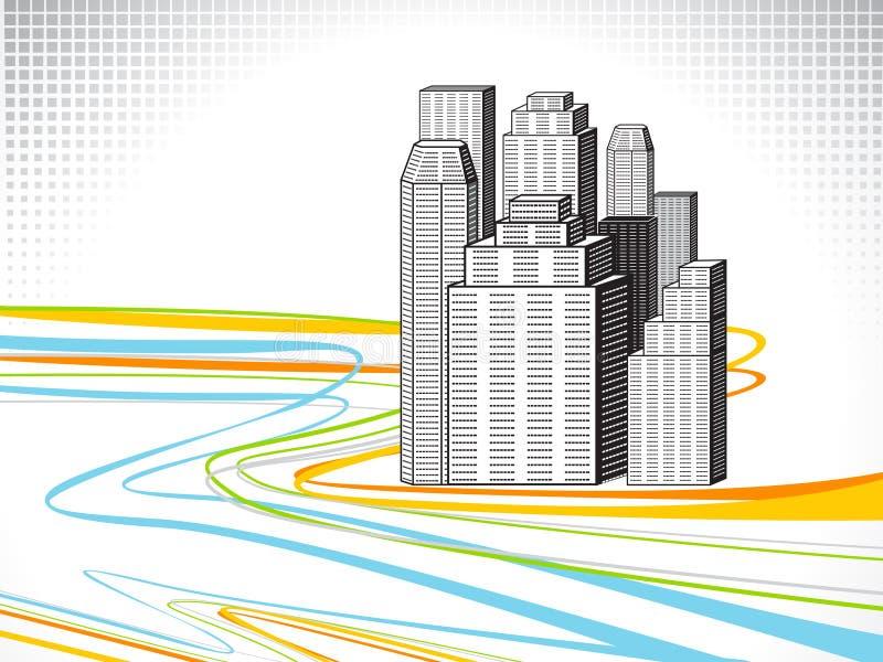 Línea abstracta onda del arco iris con el edificio stock de ilustración