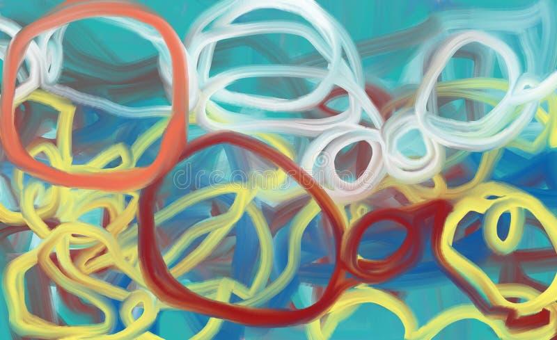 Línea abstracta pintura al óleo del círculo fotos de archivo libres de regalías