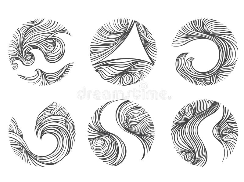 L?nea abstracta sistema del viento del icono del logotipo de la forma redonda Fondo blanco libre illustration