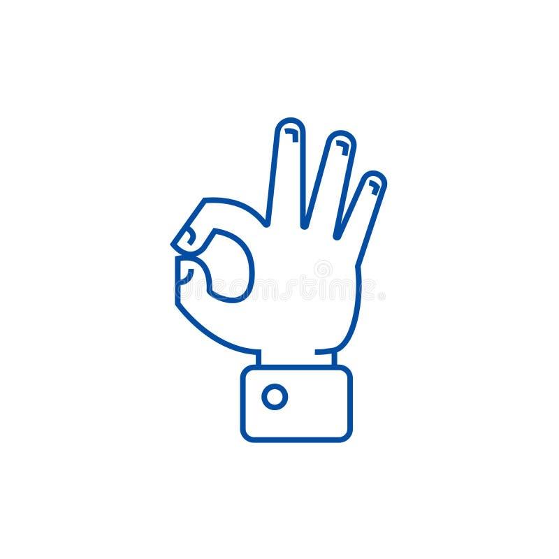 Línea aceptable concepto de la mano del icono Símbolo plano del vector de la autorización de la mano, muestra, ejemplo del esquem ilustración del vector