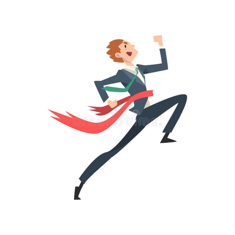 Línea acertada de Running To Finish del hombre de negocios, Team Leader Competition Vector Illustration libre illustration