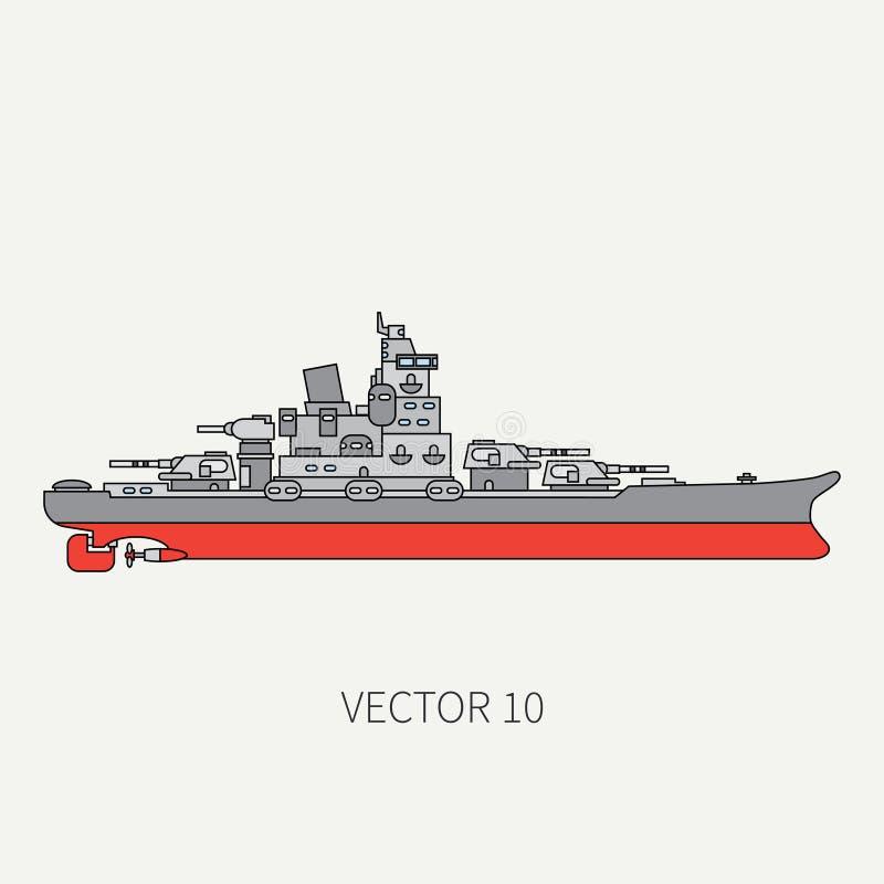 Línea acorazado naval del vector del icono plano del color Buque de guerra de Dreadnought Estilo del vintage de la historieta Gue stock de ilustración