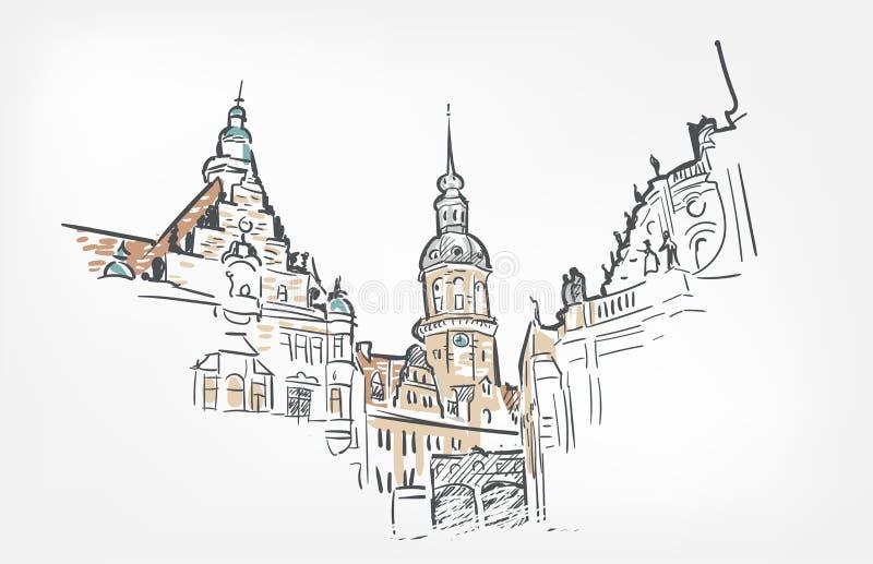 Línea acuarela aislada de Dresden del ejemplo del vector del bosquejo del arte ilustración del vector