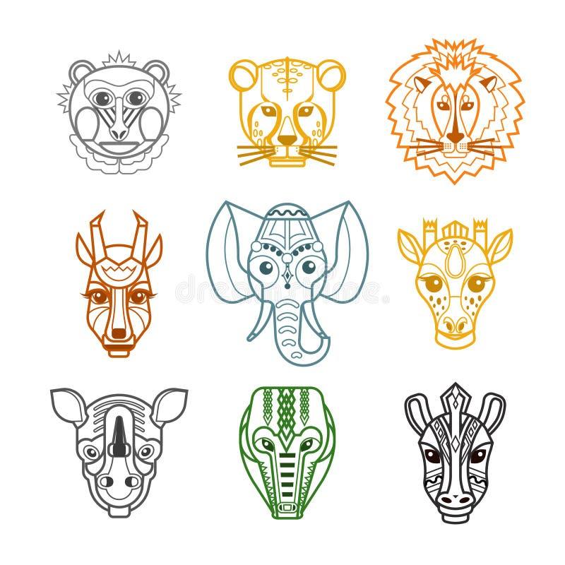 Línea africana iconos de las máscaras de las cabezas de los animales ilustración del vector