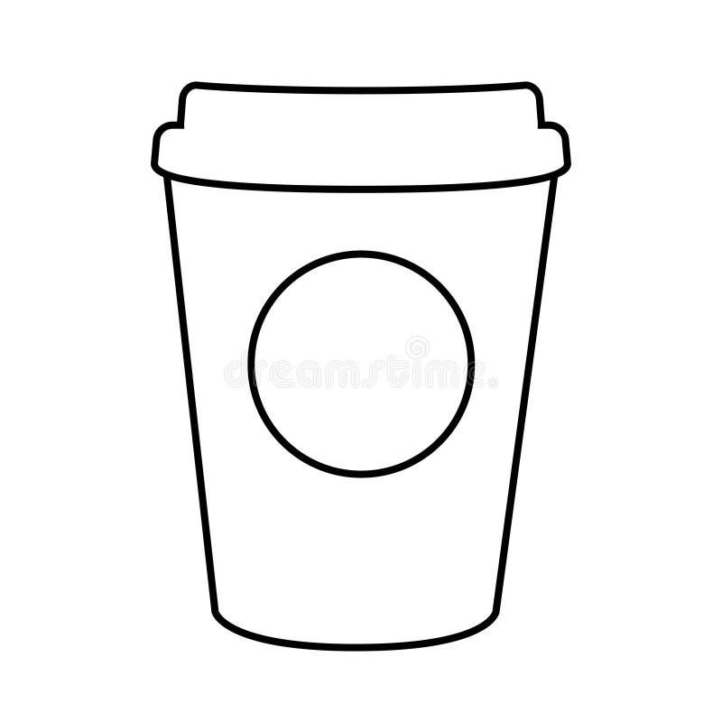 Línea aislada llana de papel diseño de la taza de café stock de ilustración