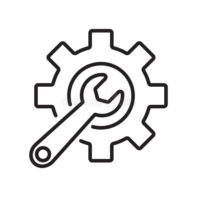 Línea ajustes y llave del icono libre illustration