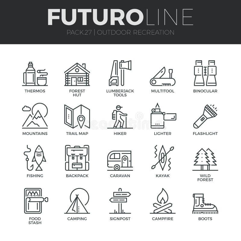 Línea al aire libre iconos de Futuro de la reconstrucción fijados ilustración del vector