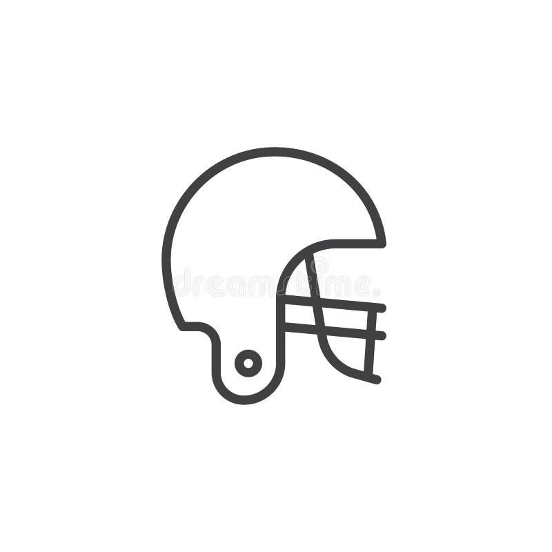 Línea americana icono del casco de fútbol americano stock de ilustración