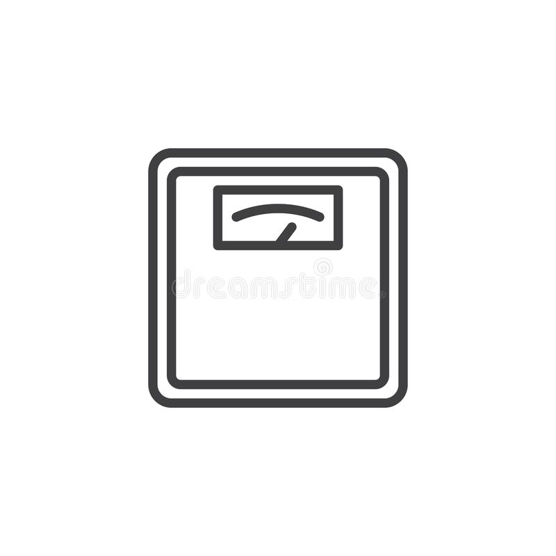 Línea análoga icono de la báscula de baño ilustración del vector