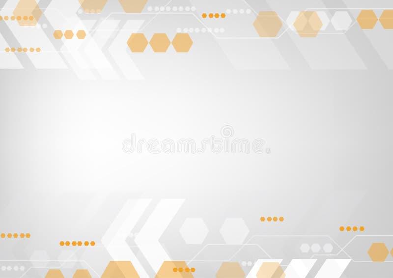 Línea anaranjada brillante del circuito con los iconos del interfaz y de la flecha de la alta tecnología libre illustration