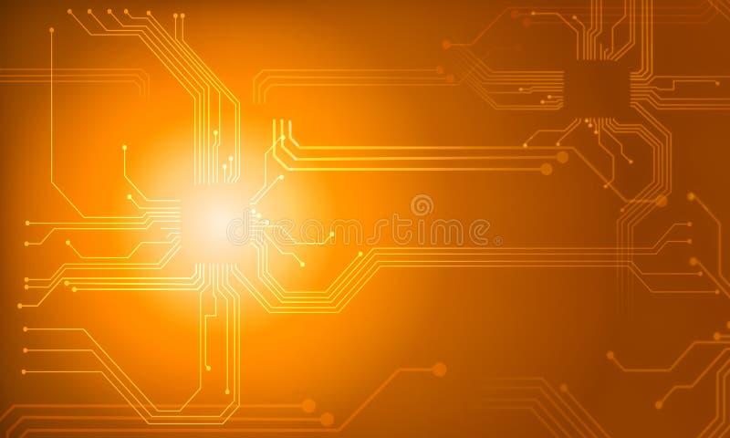 línea anaranjada fondo del circuito de la tecnología del extracto stock de ilustración